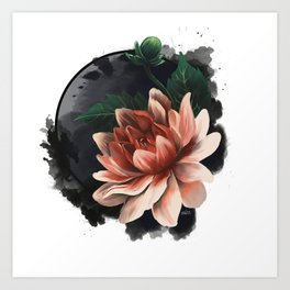 Ink and flowers Art Print