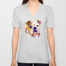 English Bulldog Head Unisex V-Neck