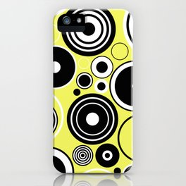 Geometric Rings On Pastel Yellow - Black and white abstract iPhone Case