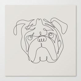 One Line English Bulldog Canvas Print