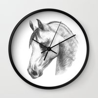 arab Wall Clocks featuring Arab horse head by Mindgoop