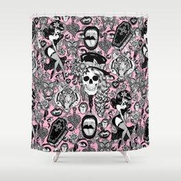 Pink Halloween Shower Curtain