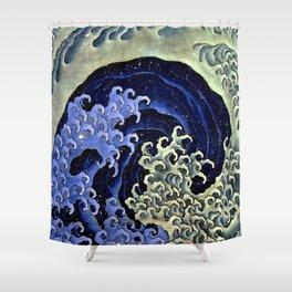 """Hokusai (1760–1849) """"Femenine wave"""" Shower Curtain"""