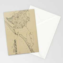 Vintage Map of Galveston Texas (1892) Stationery Cards