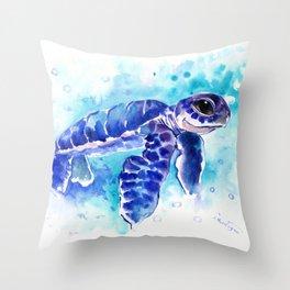 Blue Hawaiian Sea Turtle, Turquoise Blue Cute Animal Sea world Art Throw Pillow