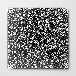 Chaotic white tangled and black lines. Metal Print