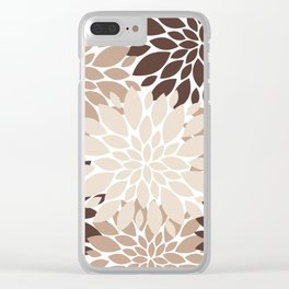 Floral Rosettes in Dark and Light Brown and Beige Clear iPhone Case