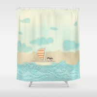 pirate ship Shower Curtains featuring pirate ship...  by studiomarshallarts