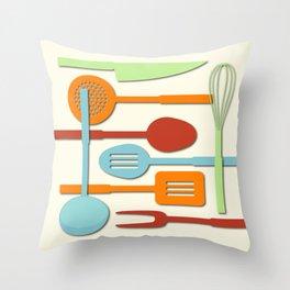 Kitchen Colored Utensil Silhouettes on Cream III Throw Pillow