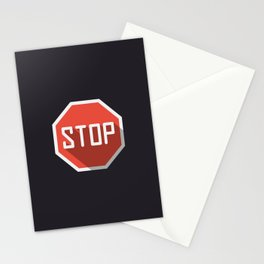 """Road sign """"Stop"""" in flat design modern illustration with long shadow effect Stationery Cards"""