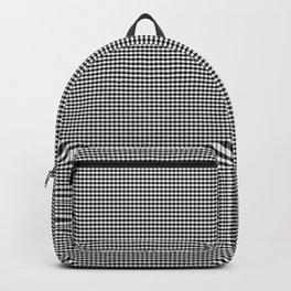 Mini Jet Black Gingham Check Square Pattern Backpack