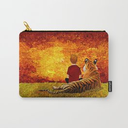 Cute Calvin and the lazy tiger Art painting Carry-All Pouch