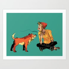 pet the dog Art Print