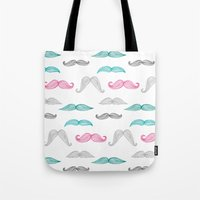 moustache Tote Bags featuring Moustache by Eloise Roberts