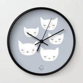 Little sleepy cat kawaii baby kitten nursery print blue boy Wall Clock