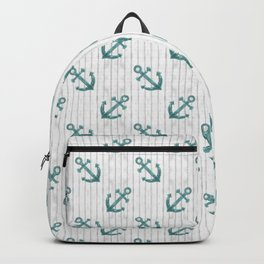 Teal Anchor Pattern Backpack