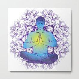 man sitting in the lotus position doing yoga meditation Metal Print