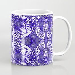 Vintage Blue-Purple  White Floral Spider Mums Art Coffee Mug