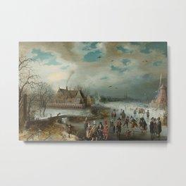 Skating on the Frozen Amstel River by Adam van Breen, 1611 Metal Print