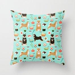 Shiba Inu noodles pho food cute dog art sushi dogs pet portrait pattern Throw Pillow