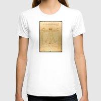 da vinci T-shirts featuring Leonardo da Vinci - Vitruvian Man by Elegant Chaos Gallery