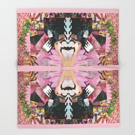 let them eat cake! a pink and green paper collage Throw Blanket
