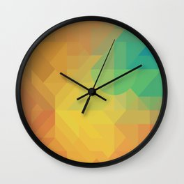 Geometric Pattern // Intricate Detailed Shapes // Gradient Colors (Orange, Yellow, Teal, Green, Red) Wall Clock