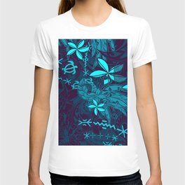 Polynesian Teal Tribal Leaf And Floral Printed T-shirt