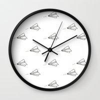 planes Wall Clocks featuring Planes by Darlene Boza