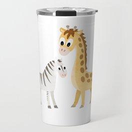 Safari Baby Zebra and Giraffe Travel Mug