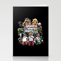 grand theft auto Stationery Cards featuring Grand Theft Mario by Fuacka