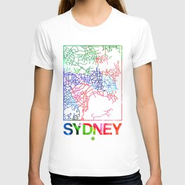 Sydney Watercolor Street Map T-shirt