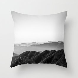 Blue in black and white Throw Pillow