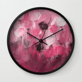 Rose Garden in Shades of Peachy Pink Wall Clock