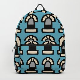 New York Windows Pattern 261 Blue and Grey Backpack
