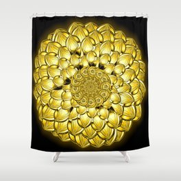 """Gold"" Dahlia Flower Special Edition 1 (Black Back) Shower Curtain"