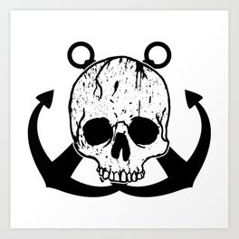 Anchored Jolly Roger Art Print