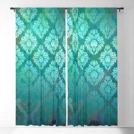 """Turquoise Ocean Damask Pattern"" Blackout Curtain"