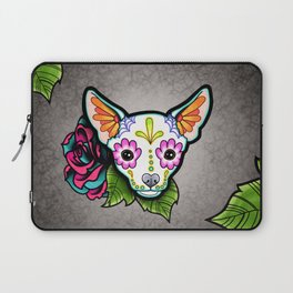 Chihuahua in White - Day of the Dead Sugar Skull Dog Laptop Sleeve
