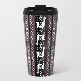 Llamas_Fuchsia stripes Travel Mug