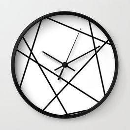 Lines in Chaos II - White Wall Clock