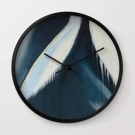 Daydream: a pretty, minimal, abstract, mixed-media piece in blue and gold by Alyssa Hamilton Art Wall Clock