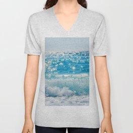 Breaking Wave of Blue Ocean on sandy beach Summer Background Unisex V-Neck