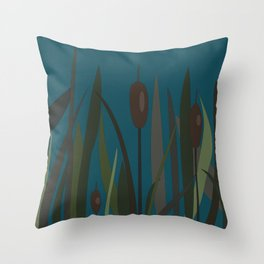 Bush of Swamp Reed on a Lake Throw Pillow