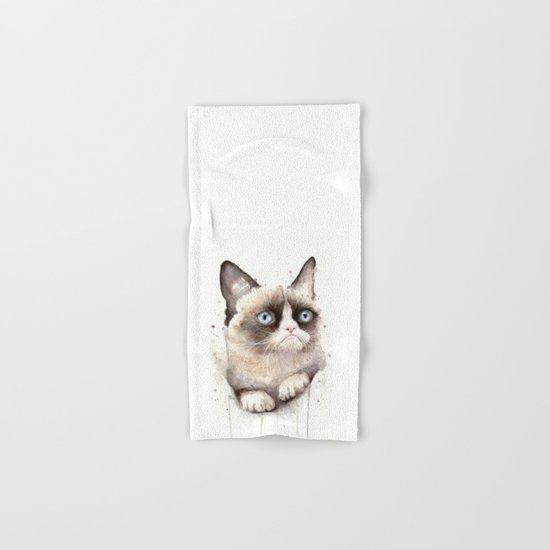 Grumpy Watercolor Cat Hand & Bath Towel