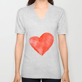 Red Watercolor Heart Unisex V-Neck