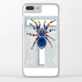 T is for Tarantula  Letter Alphabet Decor Design Art Pattern Clear iPhone Case