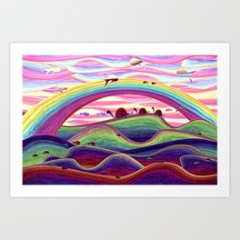 Turtle family on a colorful adventure Art Print