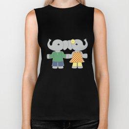 Two cute elephants. Friends illustration. Biker Tank
