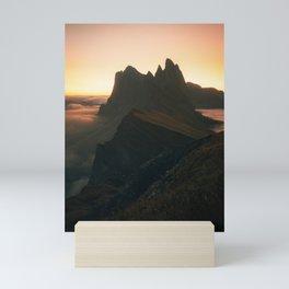 First Light on Seceda Mini Art Print